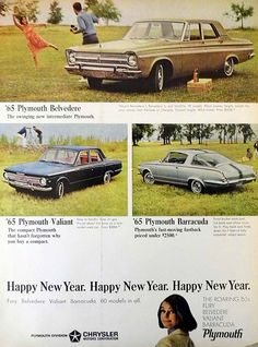 "Vintage Automobile Advertising: 1965 Plymouths Ad, Plymouth Belvedere, Plymouth Valiant, Plymouth Barracuda, ""The Roaring '65s - Fury, Belvedere, Valiant, Barracuda, Life Magazine, December 25, 1964."