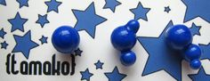 Blue dotted glass studs with sterling silver post by TamakoJewelry, €34,00