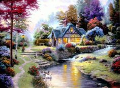 "Are you a Fan of Thomas Kinkade? You'll LOVE the large selection of Thomas Kinkade Cottage Puzzles. These jigsaw puzzles for adults are inspired by the artwork of ""The Painter of Light"" Thomas Kinkade. Thomas Kinkade Art, Kinkade Paintings, Oil Paintings, Thomas Kincaid, Art Thomas, Oil Painting Reproductions, Beautiful Paintings, Landscaping, Beautiful Pictures"