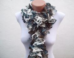 Grey Blue White  Knit Scarf Winter Accessories  Frilly by nurlu