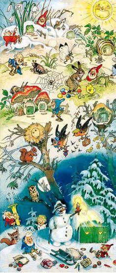 Fritz Baumgarten Noel Christmas, Vintage Christmas, Baumgarten, Elves And Fairies, Gnome, Old Fashioned Christmas, Flower Fairies, Woodland Creatures, Children's Book Illustration