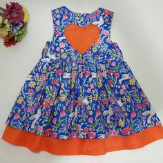 New makeforgood item listed... size 2 Sophia heart cutout dress in lovely Blue Sommer and Shocking orange fabrics