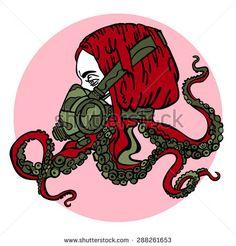 Girl. Steam-punk. Respiratory. Tentacles of an octopus. Vector illustration.