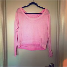 Free People Tee: Small, pink, off the shoulder We The Free Tee- relaxed off the shoulder fit, pink. Great condition!! Tops Tees - Long Sleeve