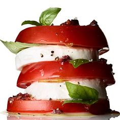 We love this refreshing (and adorable) Tomato, Mozzarella, and Basil stack! #summer #recipe | Health.com