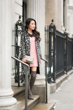 how to wear a soft delicate pink like this in the middle of winter.  perfect with tall boots and leopard print (fave)