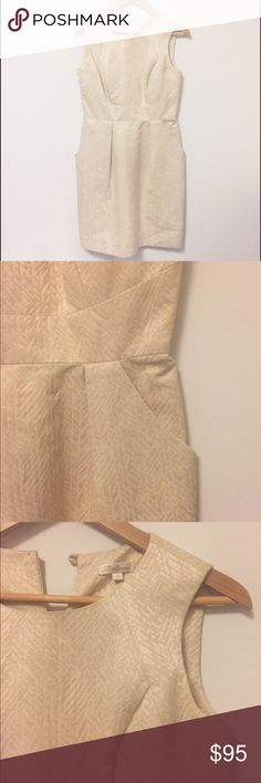 Shoshanna • Cream and Gold Jacquard Sheath Dress Shoshanna cocktail dress size 4. Great condition but has a very tiny blue pen mark on the front that's barely noticeable. Cover photo is similar but not exact Shoshanna Dresses