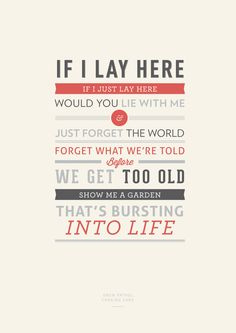 Lyrical Typography :) for Chasing Cars <3
