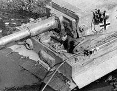 1943, Ukraine, Znamenka, Le pilote de ce Panzerkampfwagen VI Tiger, Ausf. E, Sd.Kfz. 181, #332 du S.Pz.Abt. 503 est sorti et contemple son char coincé dans la boue sur la berge d'une rivière dans la région de Kirovograd   Flickr - Photo Sharing!