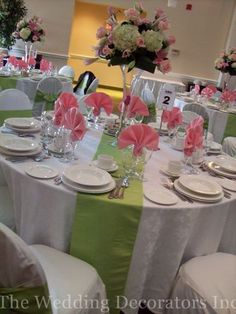 White, pink and green tablescape