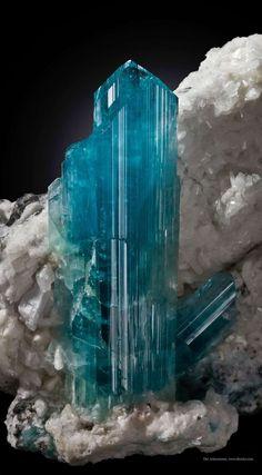 "bijoux-et-mineraux: ""Euclase on Calcite - Gachala Mine, Boyaca Dept., Colombia """