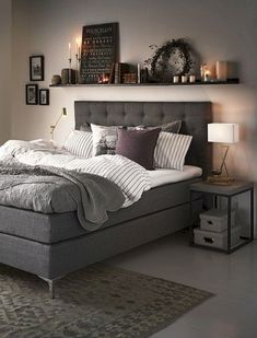 Your day begins and ends in the bedroom, so keeping it organized will also keep you sane, which is why it's the second room we're tackling in our Home Hacks Series. Overflowing drawers, floors in…More Suites, Dream Bedroom, Teen Bedroom, Bedroom Small, Dark Gray Bedroom, Bedroom Bed, Modern Bedroom, Charcoal Bedroom, Grey Bedroom Design