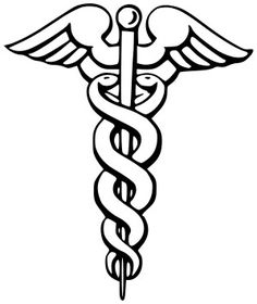 Mythology The Caduceus. (Rod of Hermes)  According to mythology, Hermes threw his magic wand at two fighting snakes. The snakes became entwined as they stopped fighting. The actual origin of the Caduceus is from two sources. The first was from the Babylonia god Ningizzida and the second was from a shepherd's crook that was forked on top.