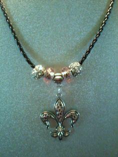 FLEUR DE LIS pendant necklace on black faux by StaceysShoppe, $10.00  Etsy.com