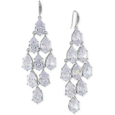 Carolee Silver-Tone Crystal Chandelier Earrings ($95) ❤ liked on Polyvore featuring jewelry, earrings, accessories, joias, silver, silver tone jewelry, crystal jewelry, carolee earrings, crystal stone jewelry and crystal chandelier earrings