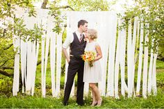 photobooth backdrop with flowing streamers