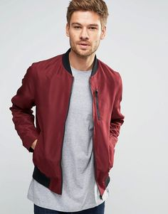 ASOS+Bomber+Jacket+With+Zip+Chest+Pocket+In+Burgundy