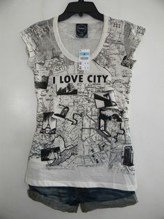"""wengpot Bnew Auth. Lefties by ZARA """"I Love city """"vintage top fits Med voluptuous"""