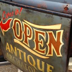 Open sign at Antique Archeology in Nashville