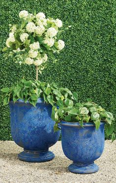 With a distinct texture and unique coloring, these distinctive planters add lava-like character to outdoor spaces. Smooth terracotta on the inside, variegated blue and terracotta outside, the Delaney Planters make a statement whether indoors or out. Garden Oasis, Furniture Placement, Grand Entrance, Pet Home, Stoneware Clay, Small Gardens, Patio Design, Terracotta, Outdoor Spaces