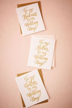 BHLDN Foil Script Wedding Day Card in  Décor Gifts For the Bridal Party at BHLDN