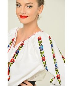 Ie Traditionala Romaneasca Maneca Lunga Motivul Trandafiri Colorati Bell Sleeves, Bell Sleeve Top, Costumes, Embroidery, Long Sleeve, Floral, Traditional, Shirts, Women