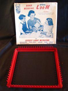 MINE!!! Retro Vintage Red Steel Hand Weaving Loom using Loops, Potholder making toy, 1960