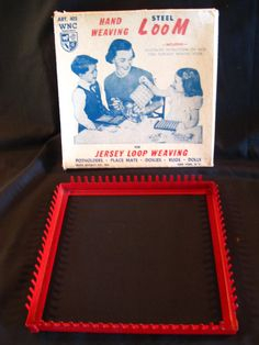 Vintage Red Steel Hand Weaving Loom 1960