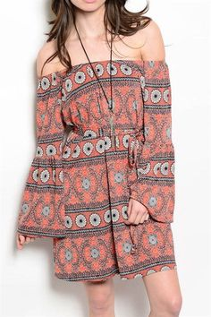 DANCING IN THE STREET Vintage Hippie Rust Boho Off-Shoulder Shift Dress! #UACollection #Shift #Casual $30.00
