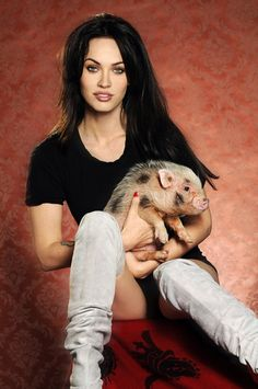 Megan Fox and her Vietnamese pot bellied Piggy Smalls- It does not get better than this, lol.
