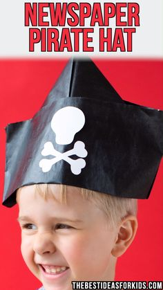 NEWSPAPER HAT 📰🗞️ - How to make a Newspaper Hat. Easy step-by-step folding instructions included on the post! Pirate Hat Crafts, Pirate Hats For Kids, Pirate Day, Kids Hats, Newspaper Hat, Newspaper Crafts, Toddler Crafts, Preschool Crafts, Diy For Kids