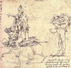 Leonardo da Vinci: Illustration for virtue and envy, 15th-16th century - Representación de la virtud y la envidia