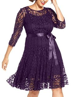 bddb67cd3dd NEW Nemidor Women s Illusion Floral Lace 3 4 Sleeves Plus Size Cocktail  Dress Cocktail Dresses