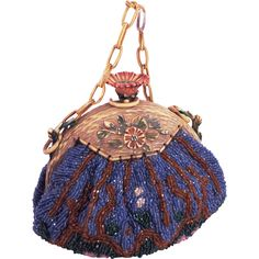 """Vintage Floral  Beaded  """"Puffy"""" Purse With Celluloid Floral Clasp and Frame"""