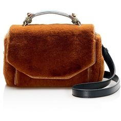 Maje Faux-Fur Satchel (£278) ❤ liked on Polyvore featuring bags, handbags, purses, brown, brown satchel handbag, satchel handbags, man bag, satchel purses and handbag satchel