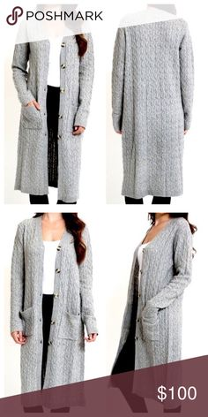 MAXI CARDIGAN Loose Knit Long Sweater Jacket Coat Available Sizes: S/M and L/XL. New with tags.   • Beautiful and effortless, this slouchy cardigan pairs perfectly with your favorite denim. • Features button front detailing, slip pockets, v-neckline & ribbed finishes for an incredibly bohemian vibe.  • Unlined, eyelet maxi sweater jacket.  • Measurements provided below.  {Southern Girl Fashion - Closet Policy}   ✔Bundle discount: 20% off 2+ items.   ✔️ Items are priced to sell. Reasonable…