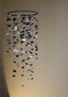 Star Mobile Blue White Silver Grey Mobile Star by OliviaOliverBaby