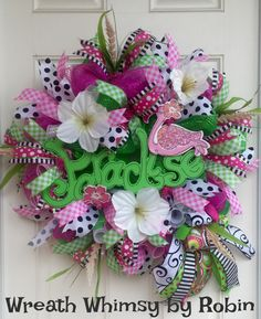 Deco Mesh Pink Flamingo Pink & Green Tropical Spring/Summer Wreath, Beach Themed Wreath, Mother's Day Gift by WreathWhimsybyRobin on Etsy