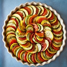 Vegetable tian - perfect assemble-ahead dinner party vegetable side that is sure to please French Dinner Parties, Vegetable Tian, Vegetable Side Dishes, Vegetable Recipes, Healthy Recipes, Cooking Recipes, Vegetarian Recipes, Party Dishes, French Food