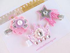 Girls/Baby Hair Clip Set Felt Flower Princess by CharlieCocos, $16.95