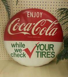 "Coca Cola button tires gas station metal sign coke vintage style 24"""