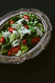 Thank you! Yogurt Ranch Dressing // I mixed Greek yogurt with an equal amount of good quality bottled Ranch dressing and added lots of fresh crushed garlic and coarse ground pepper. No MSG:)
