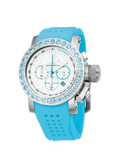#MaxXLWatches Reference: 5-max511 Sports               Movement: Quartz movement             Diameter: 42 mm                                      Water rsistence: 100m                               Description: Stainless steel case, set with cubic Zirconia, mineral glass, chronograph, date, White  dial.                                               Strap: Blue rubber/Silicon. Available at www.chronowatchcompany.com
