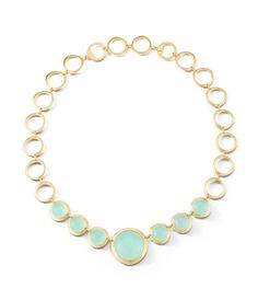 Bubble Three Stone Necklace in Chalcedony. Also available in Rose Quartz.