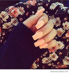 Long light orange nails