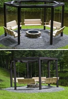 14 Outdoor Fire Pit Ideas that Will Transform Your Backyard G. - 14 Outdoor Fire Pit Ideas that Will Transform Your Backyard Get These Top Trendi - Backyard Patio Designs, Backyard Projects, Outdoor Projects, Backyard Landscaping, Backyard Seating, Fire Pit Seating, Fire Pit Area, Rustic Backyard, Outdoor Seating
