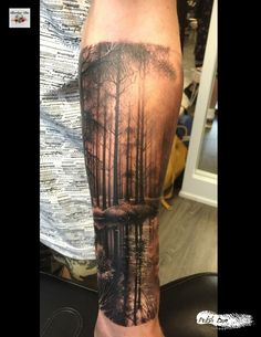 This is Polish Dan – Tattoo artist in York city in the U. Forest Tattoo Sleeve, Nature Tattoo Sleeve, Tattoo Nature, Tree Sleeve Tattoos, Kurt Tattoo, Tattoo Bein, Natur Tattoo Arm, Natur Tattoos, Forearm Tattoos