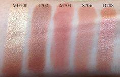 MUFE eyeshadows ME700, I702, M704, S706, D 708