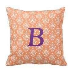 Orange White Vintage Damask Pattern 1 Pillow
