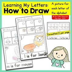 Learning My Letters - How to Draw... A directed drawing page for every letter of the alphabet. by Pam Hyer